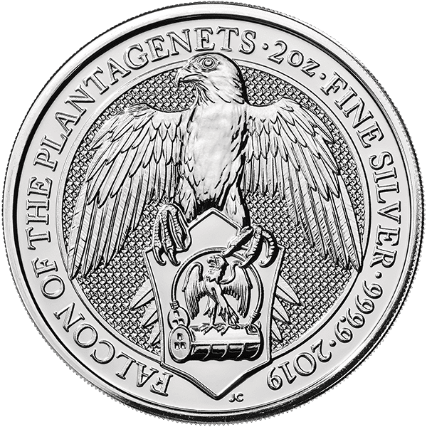 Queen's Beast Silver Falcon Front